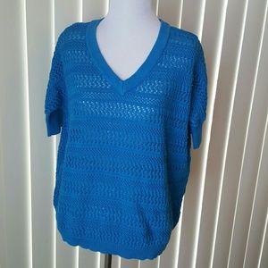 Cable & Gauge Tops - Cable & Gauge Blue Crochet Style Top