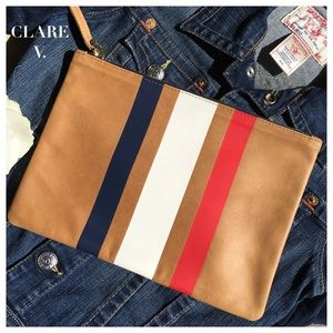 Clare Vivier Handbags - TAN, RED, WHITE & BLUE STRIPED LEATHER CLUTCH