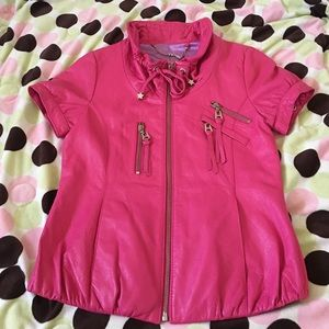 Cute Hot Pink Fuchsia Short Sleeves Leather Jacket
