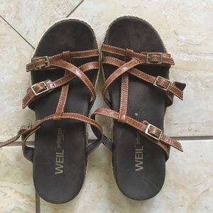 Raymond Weil Shoes - Slip on sandals. Brown leather straps