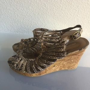 Shoes - SNAKE PRINT WEDGE SANDALS