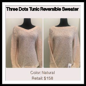 Three Dots Sweaters - THREE DOTS TUNIC REVERSIBLE NATURAL SWEATER MED