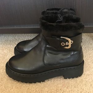Zara Black Leather Faux Shearling Boots Sz 37 Euro