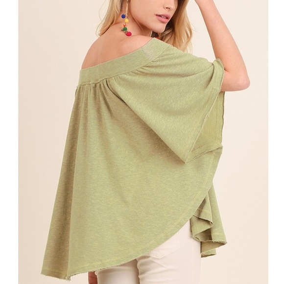Bellanblue Tops - MICHELLE off shoulder top - AVOCADO
