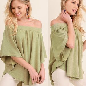 MICHELLE off shoulder top - AVOCADO