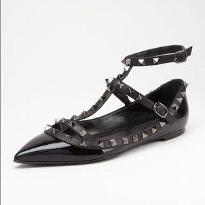 Valentino Shoes - Valentino Rockstud Noir Ballerinas