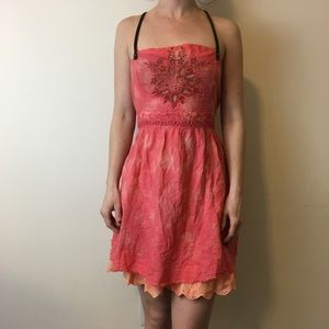 Free People Dresses & Skirts - Free People Pink Embroidered Tunic Dress