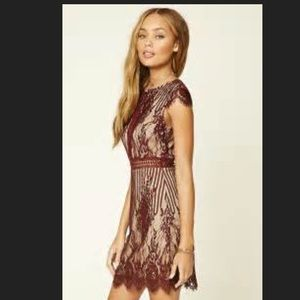 Gorgeous maroon lace dress, fully lined