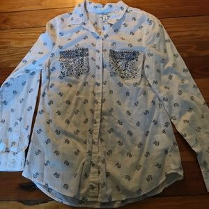 Hollister Tops - White button down with navy pattern