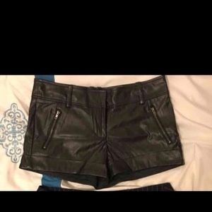 a'gaci Pants - Black pleather shorts