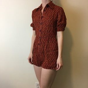 Reformation Pants - Reformation Red Gold Printed Button Down Romper