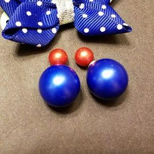 Jewelry - Blue red double stud earrings