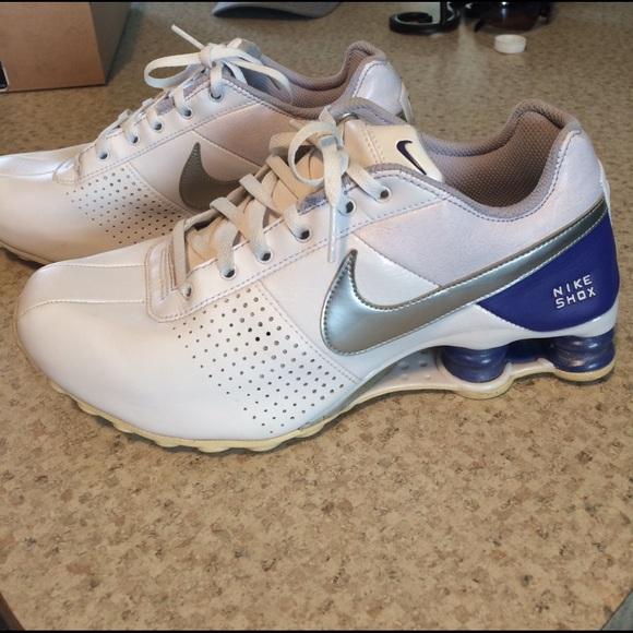 new product 5c959 cd19e Womens purple and white Nike Shox