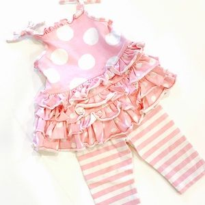 Bonnie Baby Other - Bonnie Baby Pink & White Polka Dot Outfit