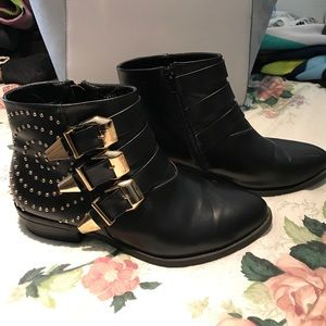Shoes - Black Gold Studded Ankle Booties