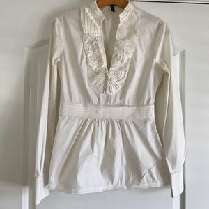 BCBGMaxAzria White Ruffle Cotton Blouse