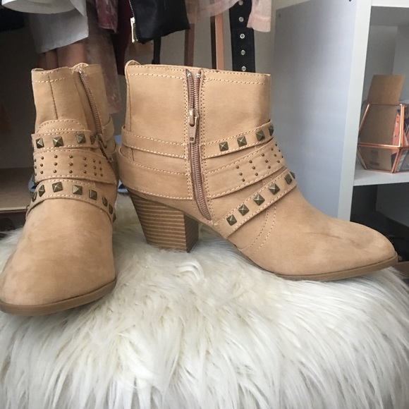 3dc1129367e8 Express tan ankle boots with studded detail