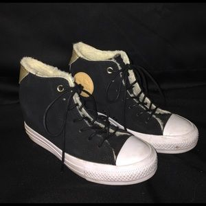 CONVERSE ALL STAR Black Fur Heel Shoes Gold Size 7