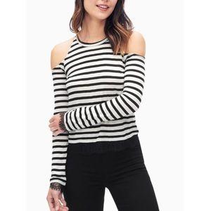 Splendid Tops - NWT Splendid striped lace trim open shoulder top