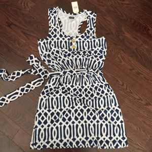 Mud Pie Dresses & Skirts - Mud Pie Navy Emory Tank Dress Geometric Navy White