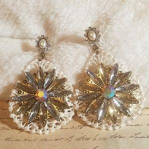 Jesi's Fashionz  Jewelry - Crystal Flower & Lace Dangle Earrings