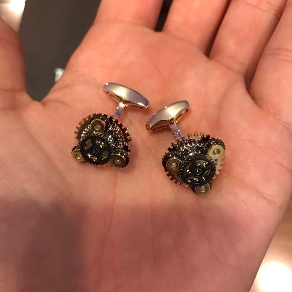 Tateossian Silver Rotondo Gear Cufflinks