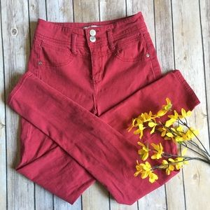 Rue21 Denim - 🌾 Rue 21 Red Double Button Skinny Jeans Size 1