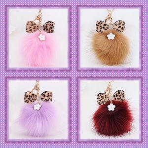 Boutique Accessories - 💗Fox Fur Ball with Leopard Bow & Flower💗