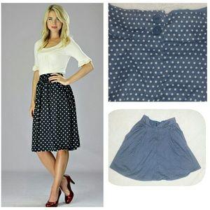 Last ChanceNavy Blue Polka Dot Skirt