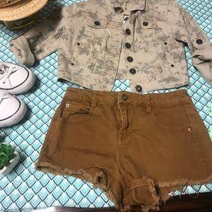 Camel brown denim shorts
