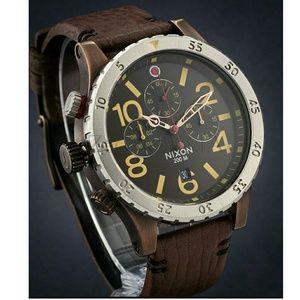 nixon Other - NWT NIXON 48-20 Leather Brown Chronograph Watch