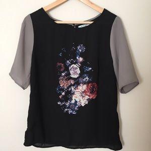 Kimchi Blue Tops - Kimchi Blue dark moody floral blouse