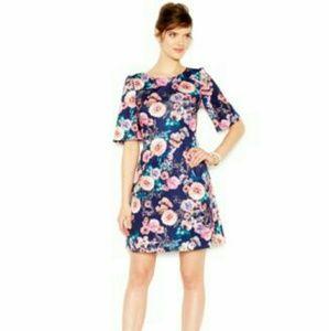 Betsey Johnson Dresses & Skirts - Betsey Johnson floral scuba dress exposed zipper