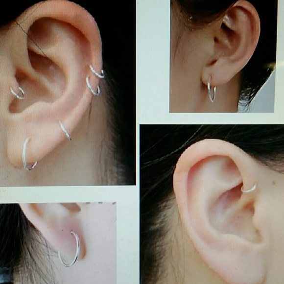 Jewelry 925 Sterling Silver Mini Hoop Ear Lobe Earrings Poshmark
