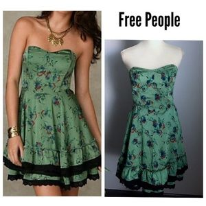 Free People strapless floral dress