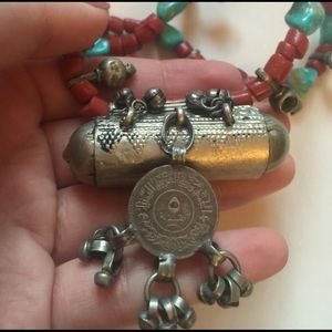 Vintage Jewelry - Authentic Bedouin Coral & Turquoise Necklace