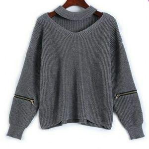 Sweaters - gray choker sweater