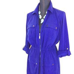 ALFANI 10 Blue 3/4 Sleeve Shirt Dress Short Casual