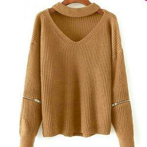 Sweaters - mustard choker sweater