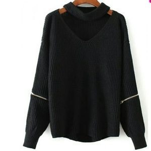 Sweaters - black choker sweater