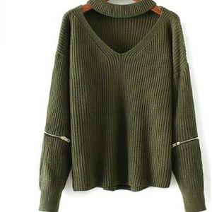 Sweaters - olive choker sweater