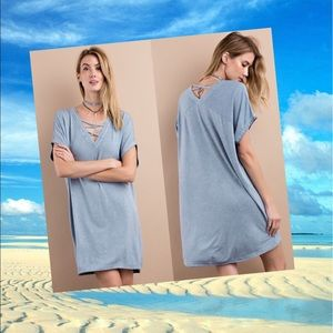 Dresses & Skirts - Terry Knit Tee Dress- Washed Denim