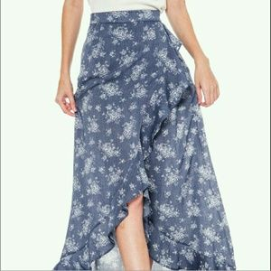 Bellino Clothing Dresses & Skirts - floral denim maxi