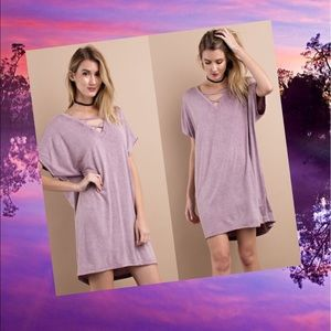 Dresses & Skirts - Terry Knit Tee Dress- FADED PLUM