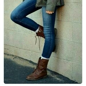Breckelles Shoes - Military Style Lace-up Chunky Mid-calf Boots