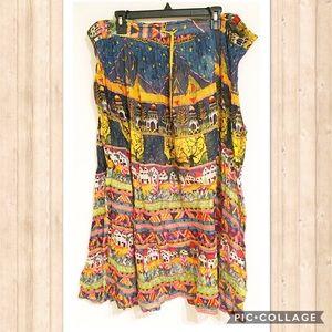 Vintage Dresses & Skirts - Vintage Boho City Print Maxi Skirt