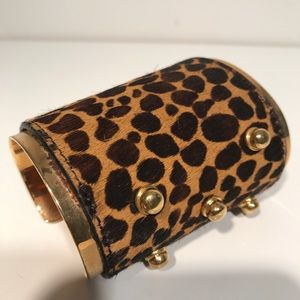 Vince Camuto Jewelry - Vince Camuto Leopard and Gold Metal Cuff Bracelet