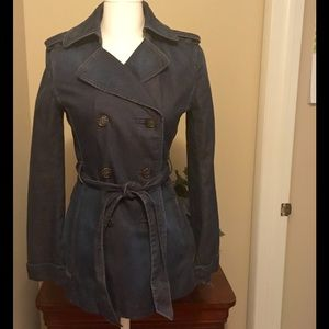 Loft Denim Trench Coat/Jacket Small