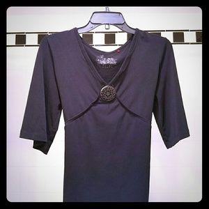 Esprit Tops - Black three quarter sleeve blouse with decor