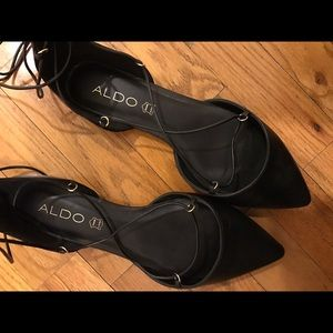 BRAND NEW: Lace-up Black Leather ALDO Flats